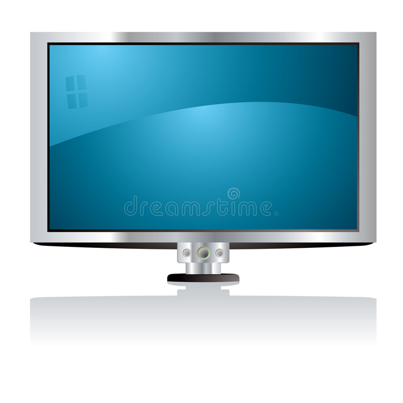 LCD tv blue. Illustration of a lcd tv with a blue screen and silver surround