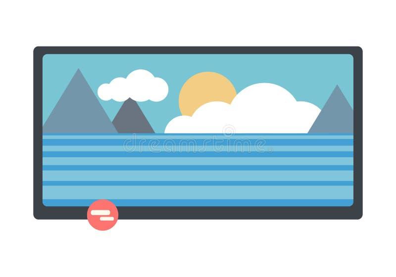 LCD TV con paisaje de la naturaleza en la pantalla ilustración del vector