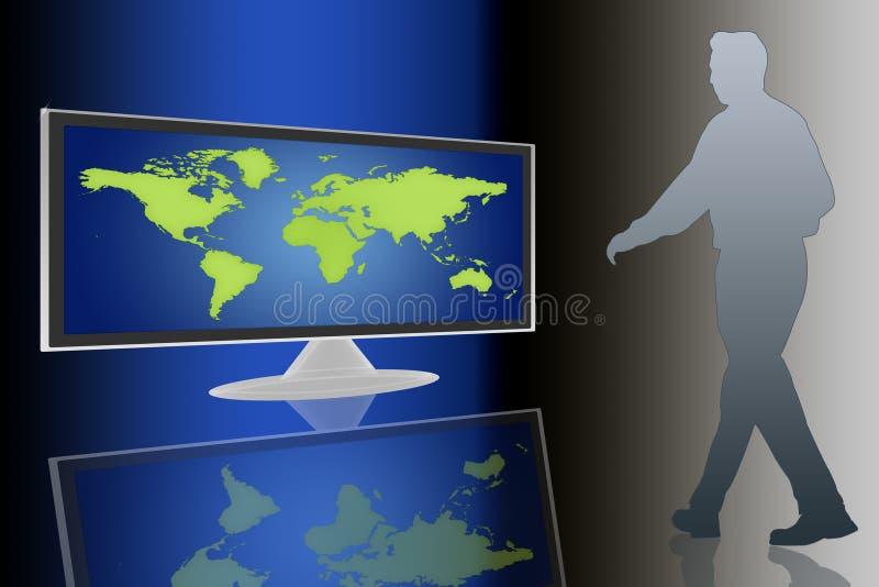 LCD TV en wereld stock illustratie