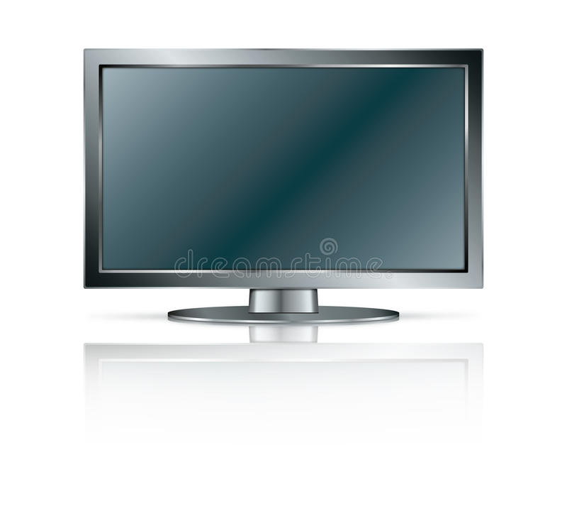LCD TV/ Monitor. Black LCD TV/Monitor isolated on white background stock illustration