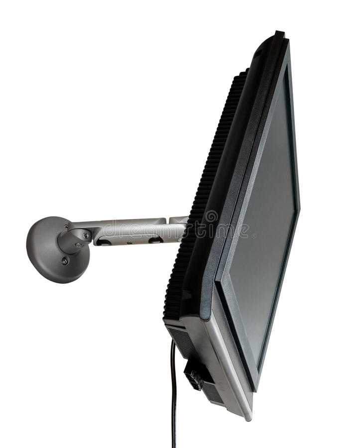 LCD TV/monitor eingehangen an einer Wand lizenzfreies stockfoto