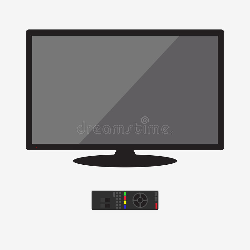 Lcd tv monitor, illustration. LCD tv monitor, flat illustration. Isolated on white royalty free illustration