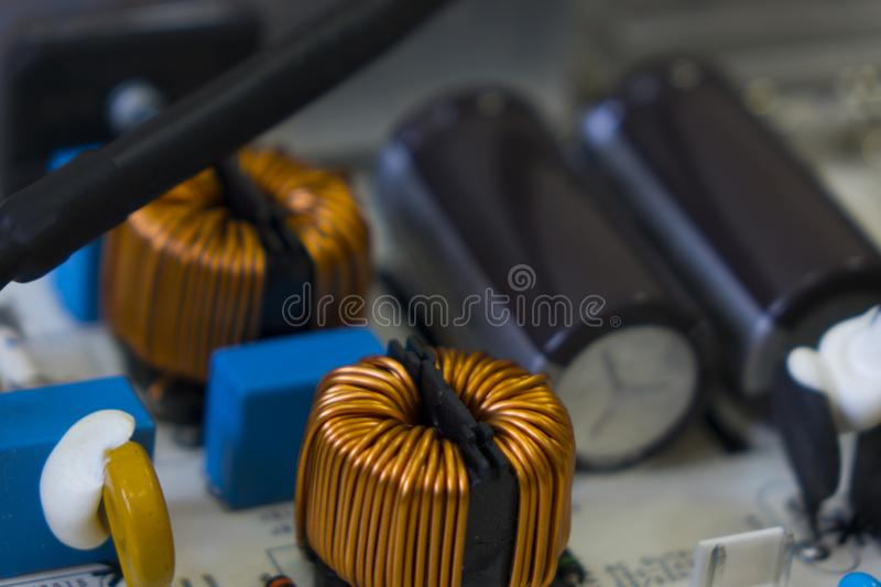 Lcd tv motherboard, electronic components on circuits royalty free stock photos