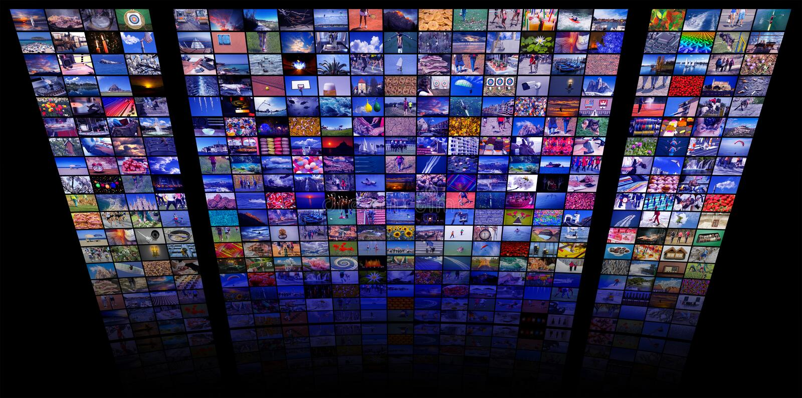 LCD TV panels as Video wall with colorful images. LCD TV panels as Video wall with lot of colorful images stock photos
