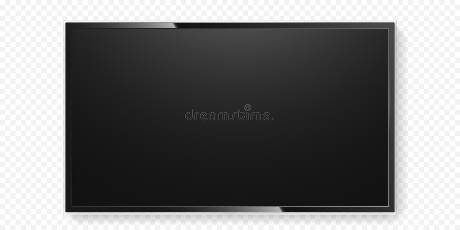 LCD TV screen isolated transparent background vector flat black television panel glass stock illustration