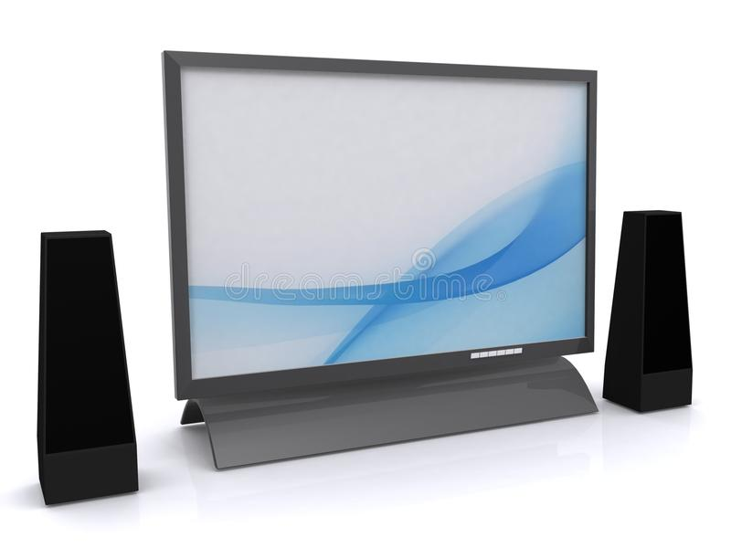 LCD tv and speakers. Illustration of modern LCD or liquid screen display television with blank screen and pair of speakers, isolated on white background vector illustration