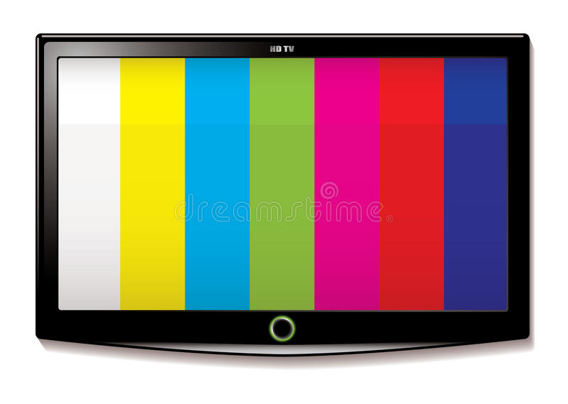 LCD TV Test screen. Stripe test screen on modern LCD television mounted on wall vector illustration