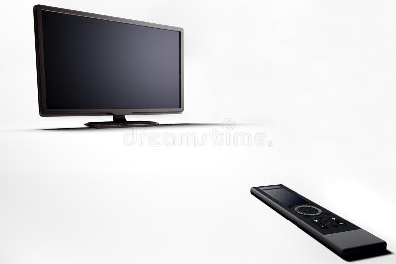 Lcd van het plasma TV met afstandsbediening stock illustratie