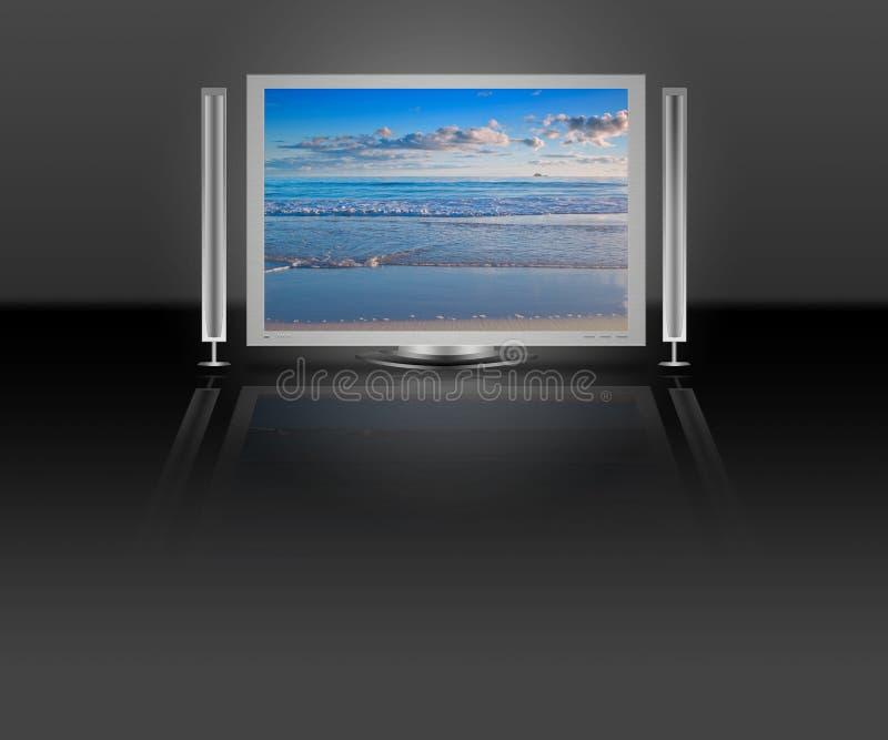Lcd van het plasma TV met de scène van de strandaard royalty-vrije illustratie