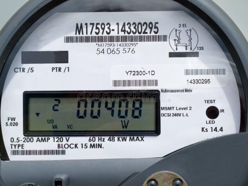 LCD vertoning van slimme de leveringsmeter van de netmacht stock foto