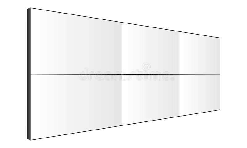 LCD video wall mockup - perspective side view vector illustration