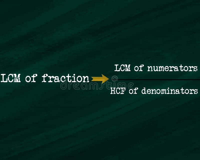 lcm of fraction equal to LCM of numerator upon HCF of denominators equation displayed on chalkboard concept stock illustration