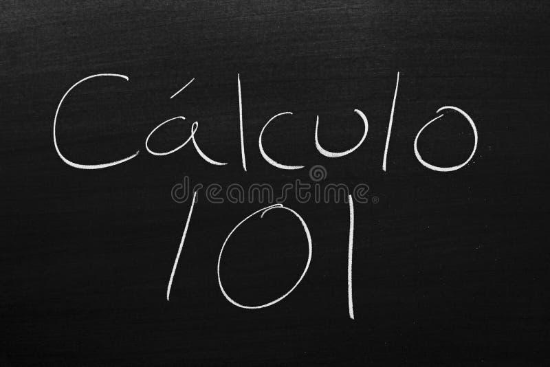 Lculo 101 do ¡ de CÃ em um quadro-negro imagem de stock