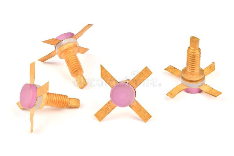Ld收音机组分,有用金子报道的联络的半导体强有力的晶体管 库存图片