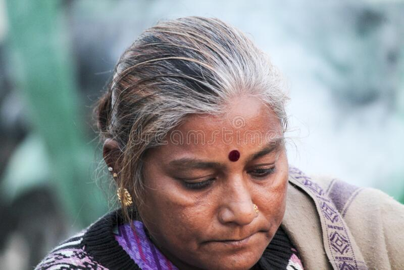 Ld Indian woman portraits child,girls,tribal,young, eye, farmer family people life. 15 jun 2019 - 12 pm Ahmadabad, Gujarat- India.  old Indian woman portraits royalty free stock photography