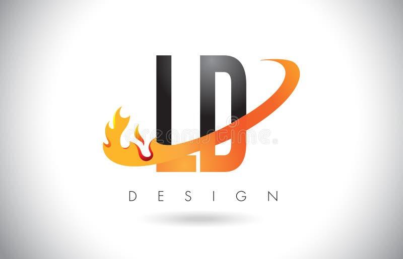 LD L D与火火焰设计和橙色Swoosh的信件商标 向量例证
