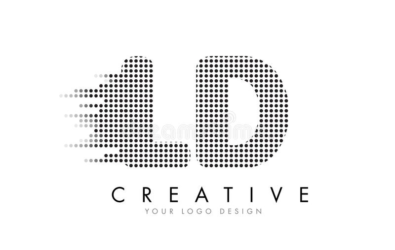 LD L D Letter Logo with Black Dots and Trails. stock illustration