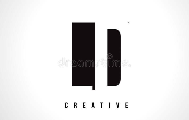 LD L D White Letter Logo Design with Black Square. royalty free illustration