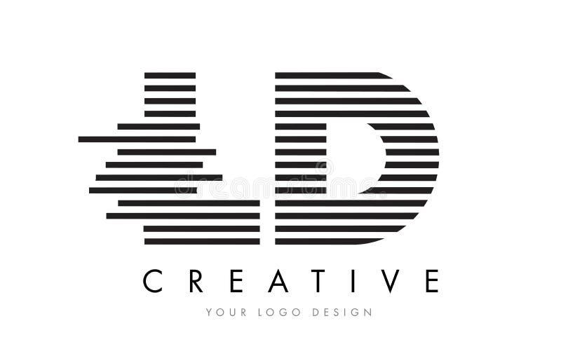 LD L D Zebra Letter Logo Design with Black and White Stripes stock illustration