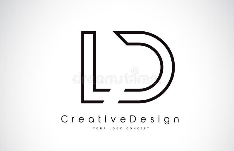 LD L letra Logo Design de D em cores pretas ilustração stock
