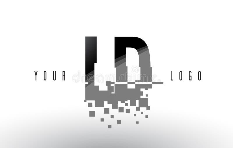 LD L logo de lettre de pixel de D avec les places noires brisées par Digital illustration stock