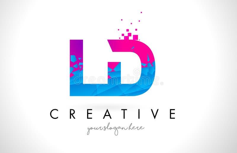 LD L logotipo da letra de D com textura cor-de-rosa azul quebrada quebrada Desig ilustração stock