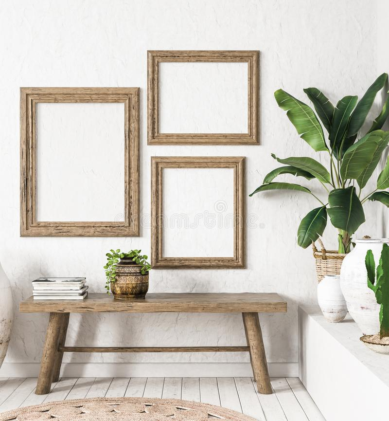 Ld wooden frame mock-up in interior background,Scandi-boho style. 3d render royalty free stock photos