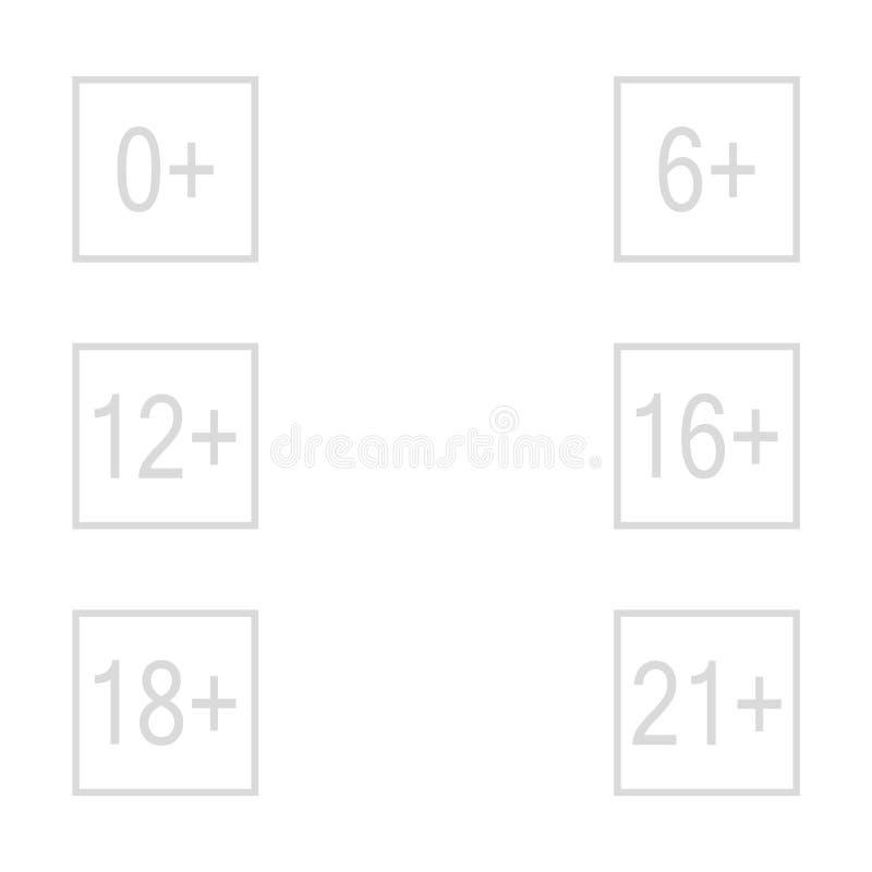 ?ldersgr?nstecken plus vektorn eps10 för symbol för vektor för ålderbegränsningstecken royaltyfri illustrationer