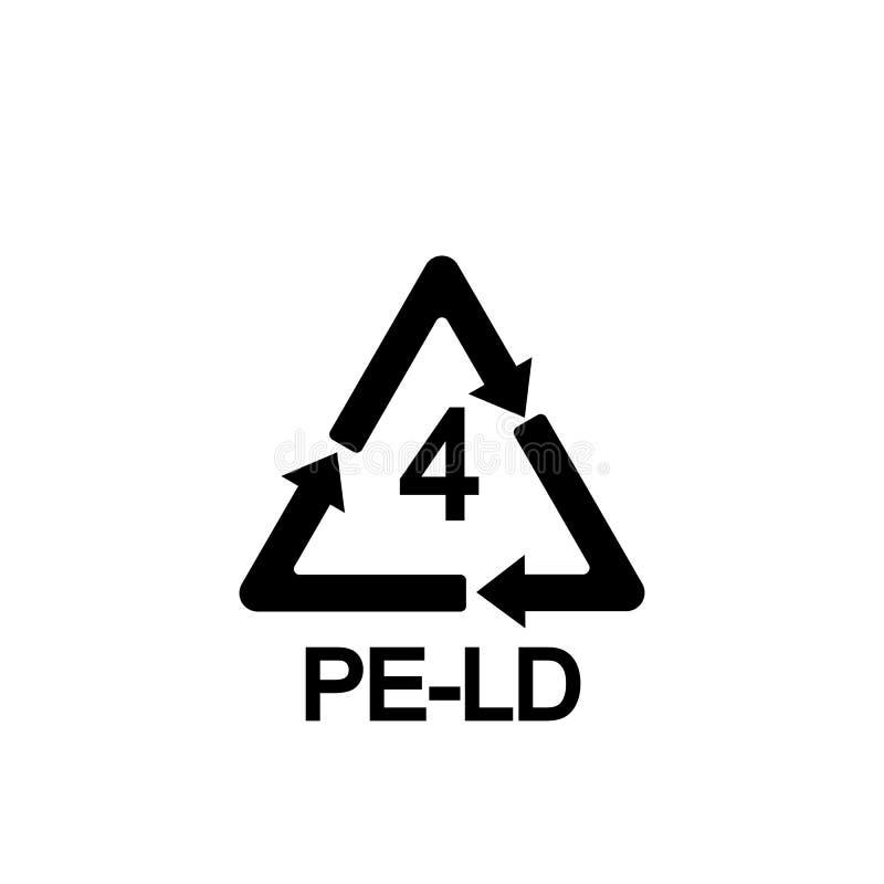 LDPE de reciclaje plástico 4, polietileno de baja densidad del código de identificación de la resina, ejemplo del símbolo del vec stock de ilustración
