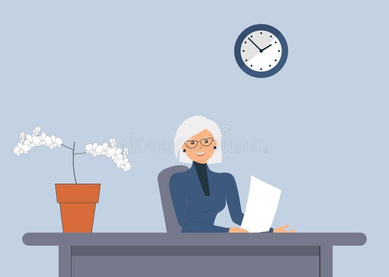 ?ldre gullig kvinnlig att sitta p? tabellen Universell bild f?r olika ockupationer: revisor revisor, chef, direkt?r, tj?nsteman, stock illustrationer