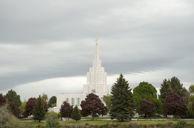 LDS Temple in Idaho Falls near Greenbelt. Beautiful Mormon LDS temple in Idaho Falls near Idaho Falls Greenbelt under cloudy skies royalty free stock image