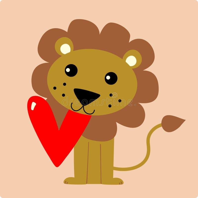 Leão bonito ilustração stock