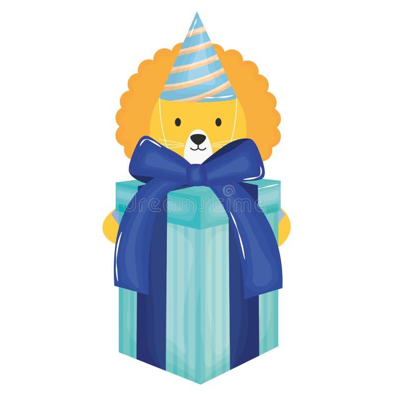 Leão bonito com giftbox e chapéu na celebração do partido ilustração do vetor