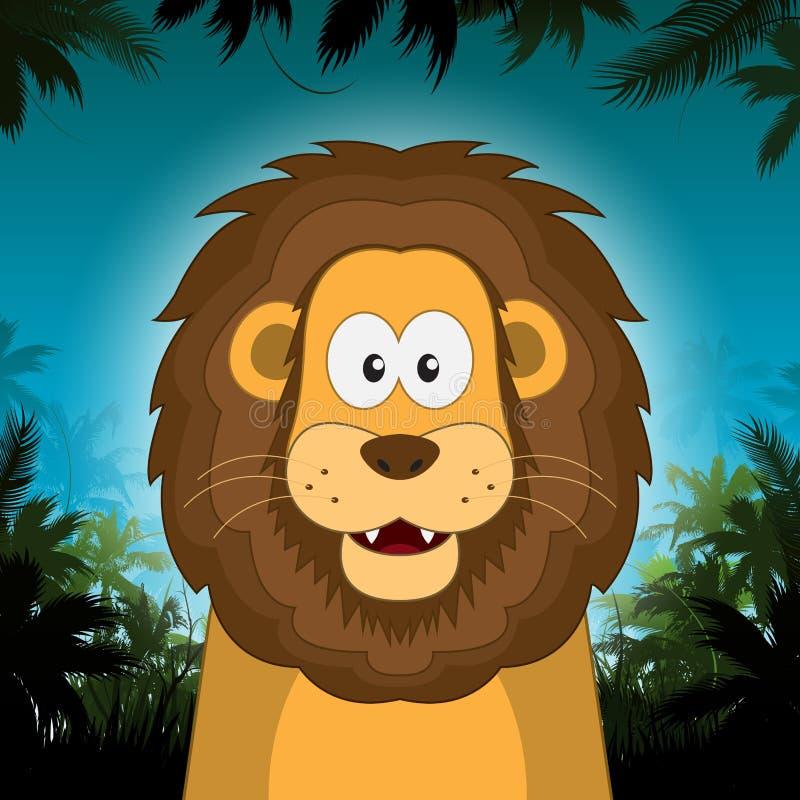 Leão bonito dos desenhos animados na frente do fundo da selva ilustração royalty free