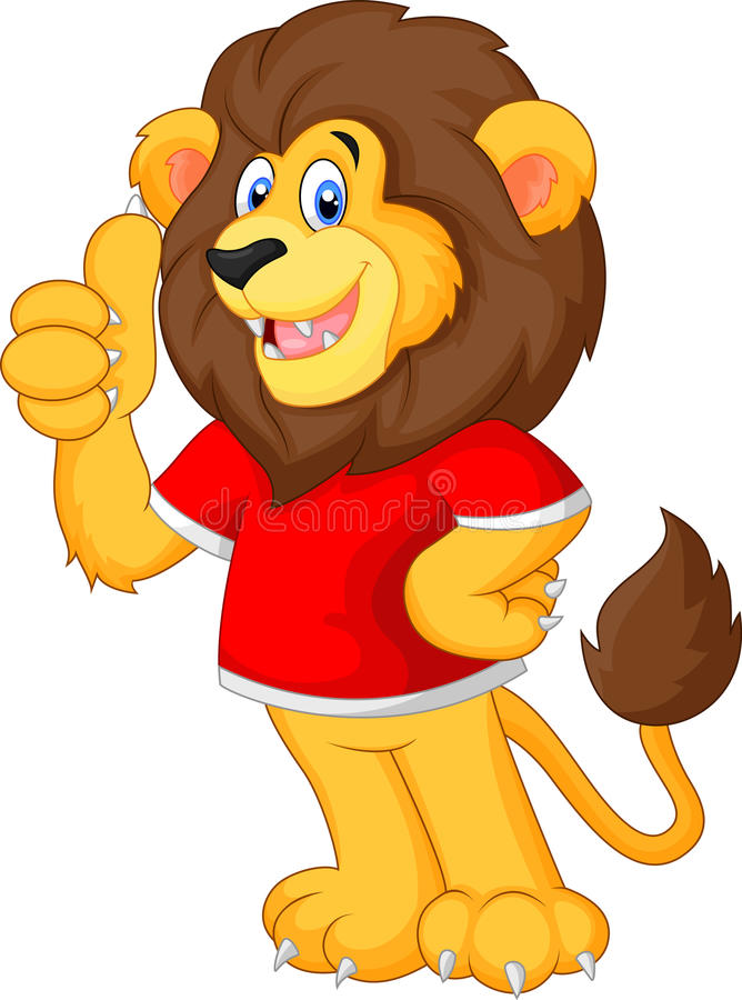 Leão bonito dos desenhos animados que dá o polegar acima ilustração do vetor