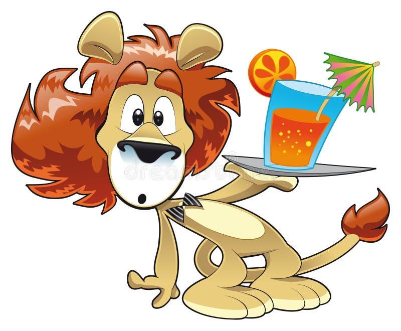 Leão com bebida ilustração royalty free