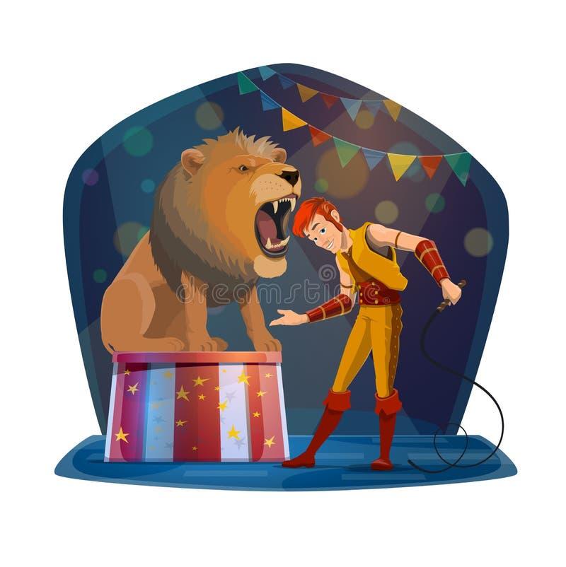 Leão com boca aberta e alimentador na fase do circo ilustração do vetor