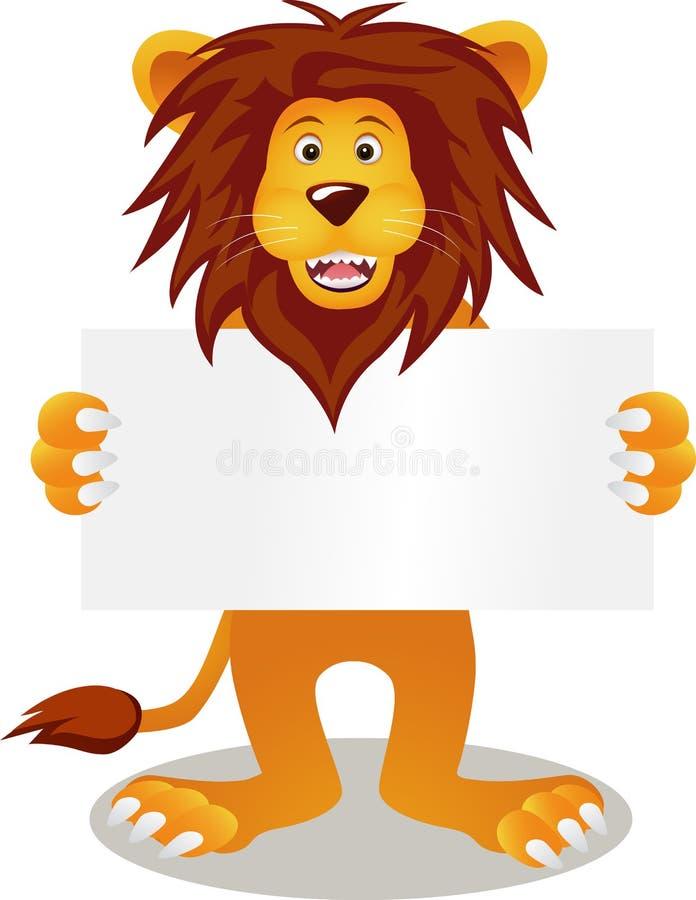 Leão com sinal em branco ilustração royalty free