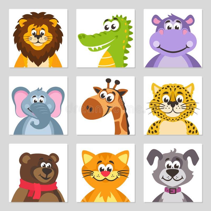 Leão, crocodilo do jacaré, hipopótamo, elefante, girafa, leopardo, urso, gato, cão ilustração do vetor