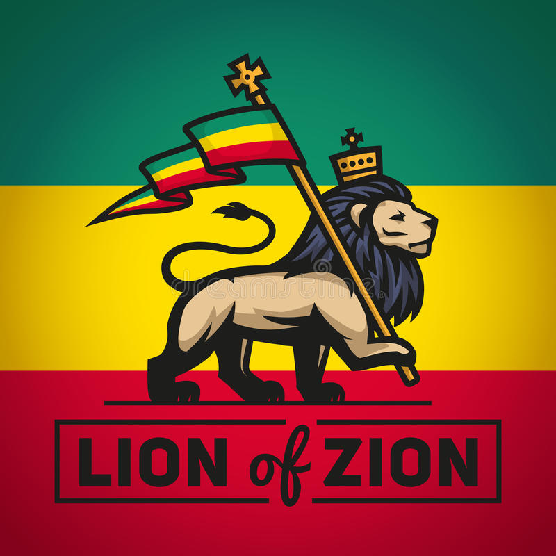 Leão de Judah com uma bandeira do rastafari Rei de Zion ilustração royalty free