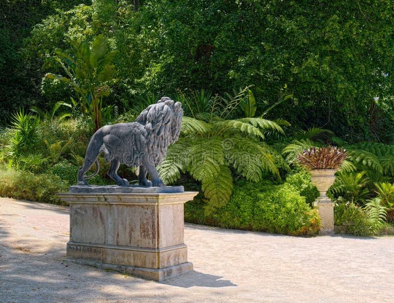 Leão de pedra que olha nos arbustos fotografia de stock