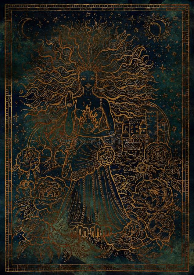 Leão do sinal do zodíaco no fundo azul místico da textura ilustração stock