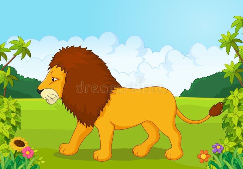 Leão dos desenhos animados do lado ilustração royalty free