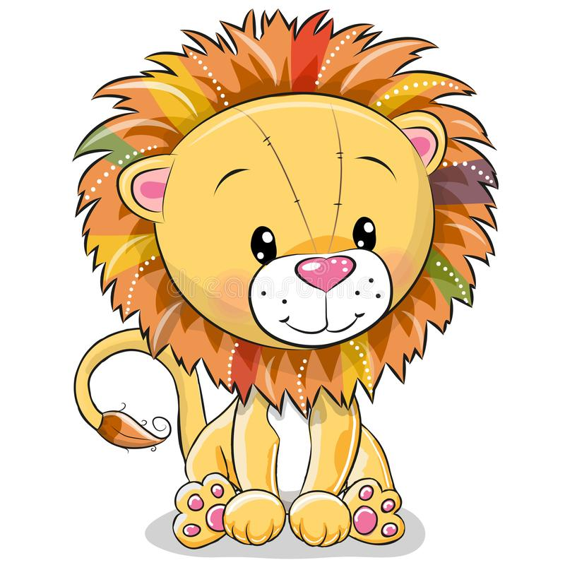Leão dos desenhos animados isolado em um fundo branco ilustração do vetor