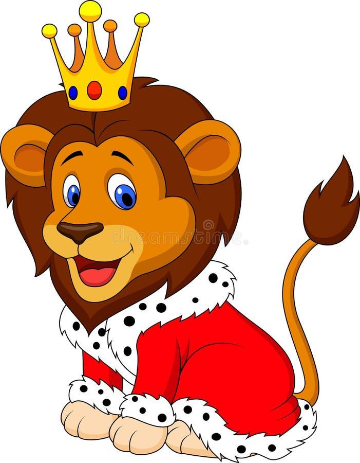 Leão dos desenhos animados no equipamento do rei ilustração do vetor