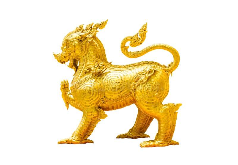 Leão dourado do estilo tailandês imagem de stock royalty free