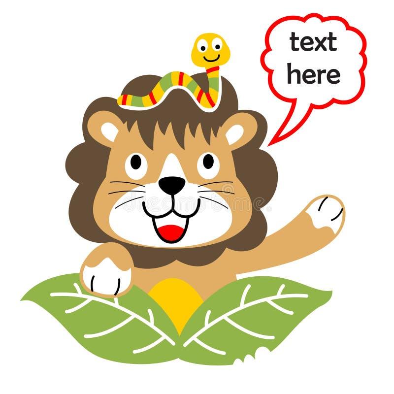 Leão e amigo pequeno, ilustração dos desenhos animados do vetor ilustração stock