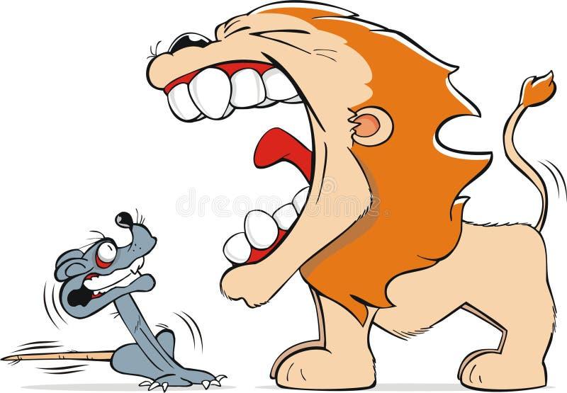 Leão e rato ilustração stock