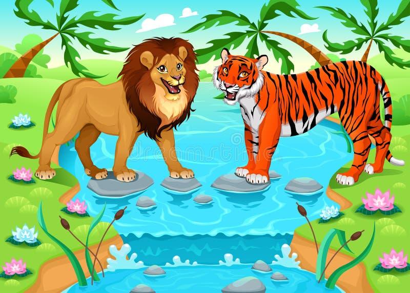 Leão e tigre junto na selva ilustração do vetor
