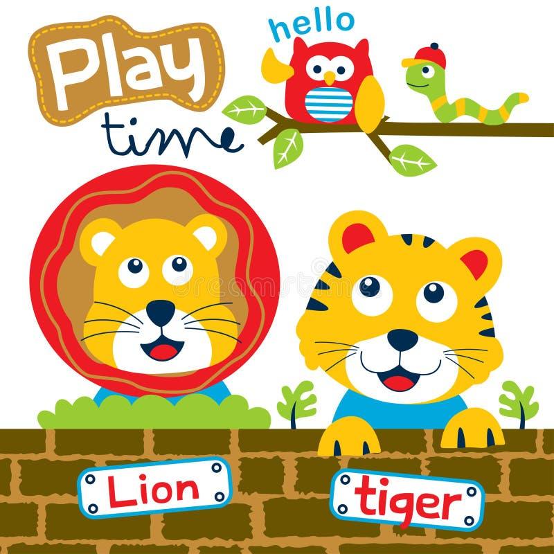Leão e tigre que jogam junto desenhos animados engraçados, ilustração do vetor ilustração royalty free